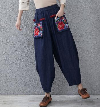 Harem pants for women plus size elastic waist loose casual jeans embroidery bloomer capris national trend loose cotton hxf0709 loose stretch harem jeans with elastic waist woman elasticity harem jeans trousers for women pants large size