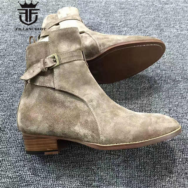 Exclusive Handmade Buckle Strap wedge top quality suede leather MID Martin Men's Boots Wedding Parting Denim causal Boots