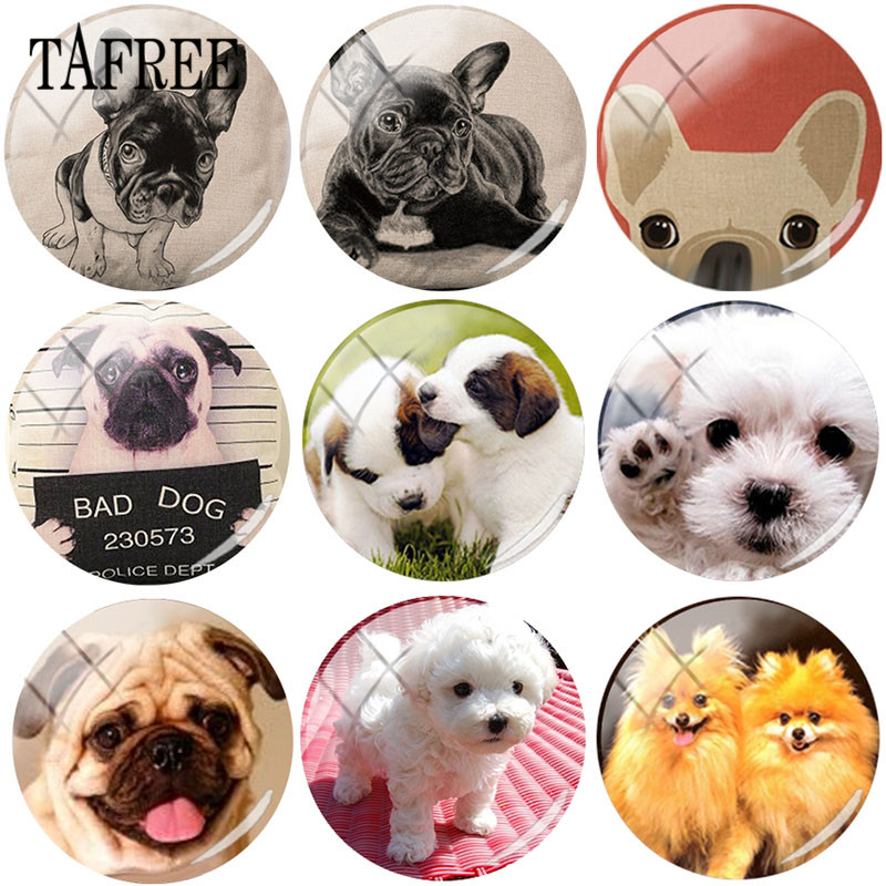 TAFREE Lovely Animals Pet Dog 25mm Round Photo Glass Cabochon Demo Flat Back Making Findings demo