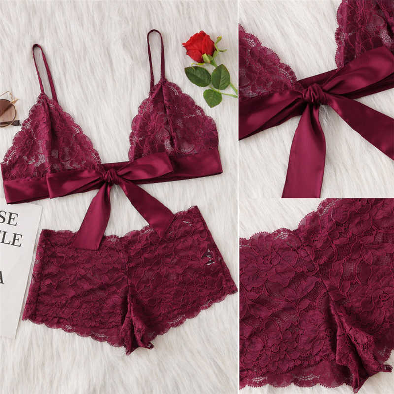 594bd9e2a13a4 ... Women Wine Red Lace Sexy Bra Panties Set Straps Embroidered Bralette  Erotic Lingerie 2018 Plus Size ...