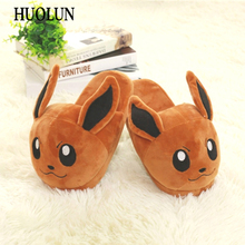 HUOLUN New Winter Home Cotton Warm Plush Slippers Cute Cartoon Pocket Monster For Pikachu Lovers Shoes