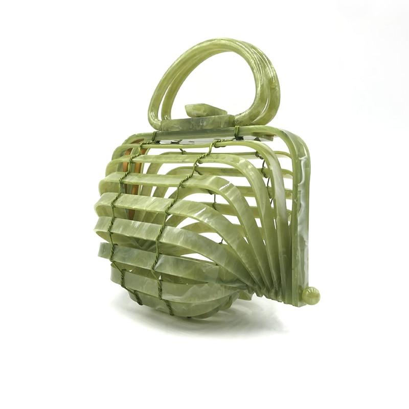 Main Transparent Paniers poignée New Plage Fold Green mesure Haut Acrylique Évider Sac À Bolsos Bambou Sacs 8P0T8a