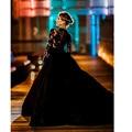 2017 Venda Quente Muçulmano Do Vintage vestido de festa Black Lace Mangas Compridas Vestidos de Noite Formal Vestidos de Baile