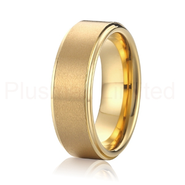 Top Quality fashion men's titanium ring party Jewelry  Gold color wedding band  Free Shipping RYRT008
