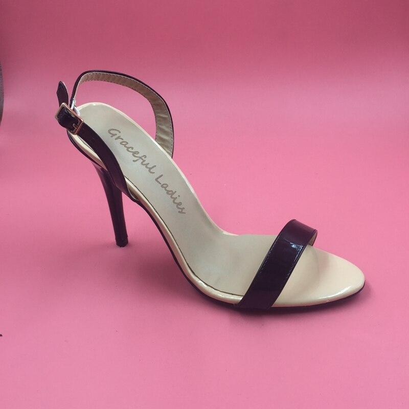 Black Nude Slingbacks Ladies Sandal Women Shoes Sandalia Feminina Women's Sandals Brands in 2017 Real Photo Kim Kardashian Shoes real photo black and nude patent leather women sandals stilettos high heels no ps ol ladies sandal shoes new 2016 sandal shoes