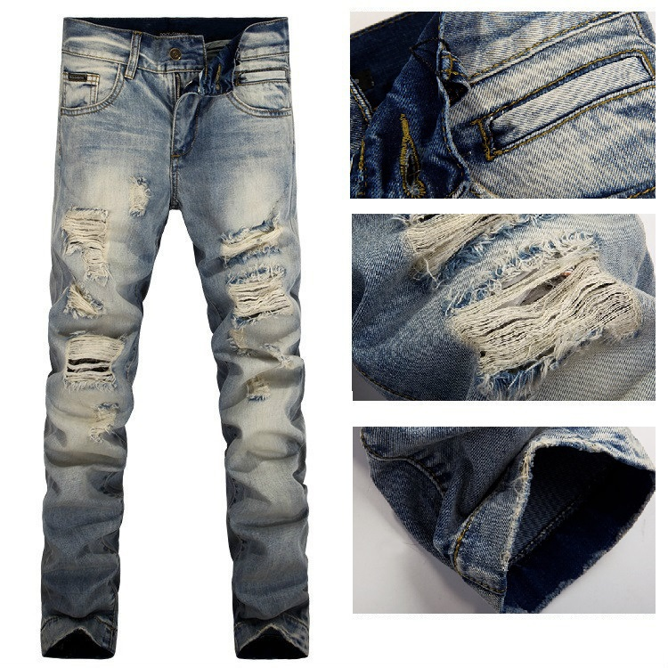9c55992a30 Men Italy Fashion Distressed Jeans #698 Size 28 38 Destroyed Ripped ...