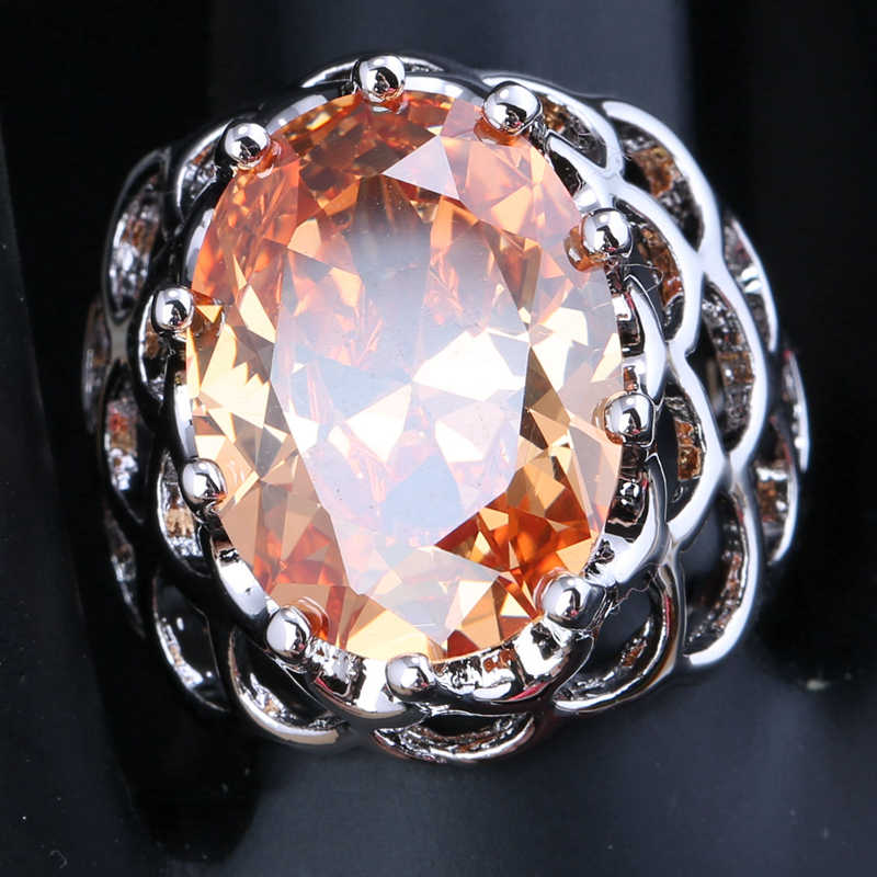 Precious Champagne Morganite Cubic zirconia Oval Gems Overlay 925 Sterling Silver Fashion Solitaire Rings Size 6 7 8 9 S1741