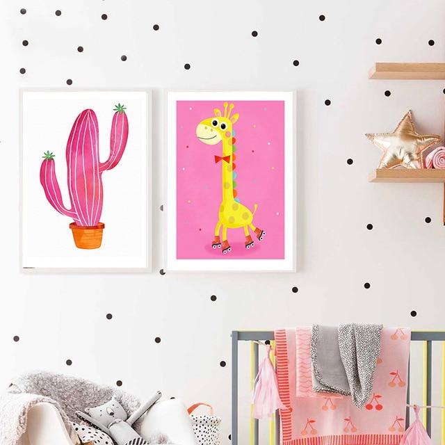 Kawaii Giraffe Cactus Cartoon Posters Canvas Art Prints Wall Art ...