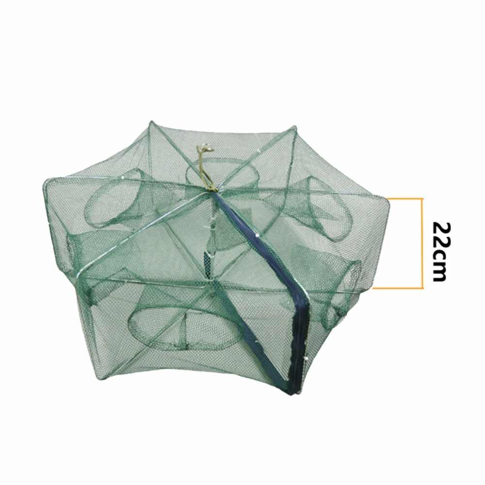 חיזק 6 חורים אוטומטי דיג נטו שרימפס כלוב ניילון מתקפל סרטן דגי מלכודת נטו יצוק מתקפל דיג רשת