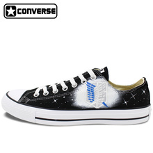 Black Converse All Star Low Top Anime Shoes Attack on Titan Design Hand Painted Shoes Women Men Sneakers Cosplay Christmas Gifts
