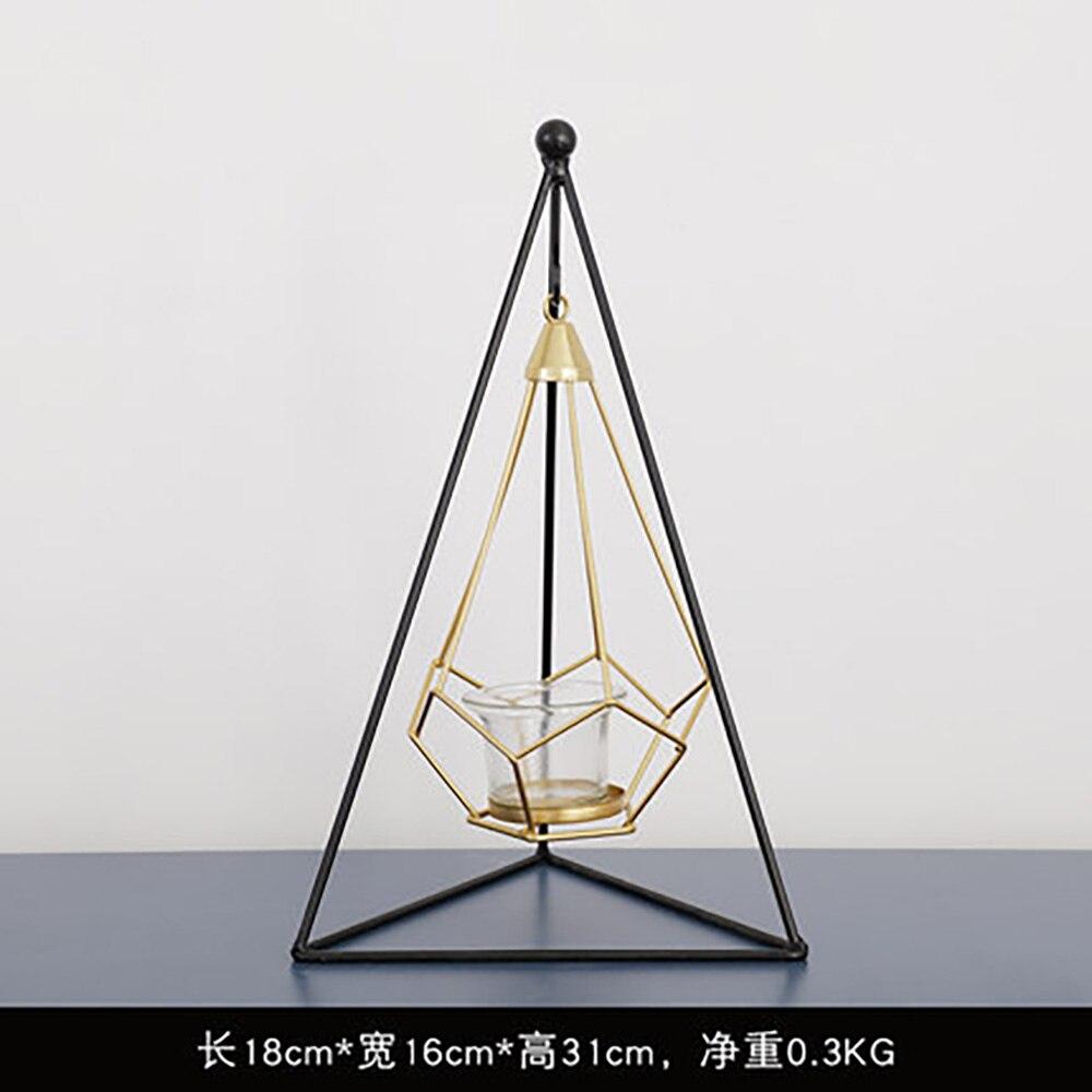 2019 Nordic Arte del Ferro Candeliere Artigianato Candelabri Portacandele di Vetro Bougie Del Basamento Della Decorazione Della Casa Romantico Appeso Glim Puntelli