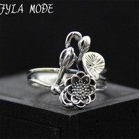 وضع fyla s925 حلقة 925 فضة جديد زهرة نبات اللوتس اللوتس برعم مجوهرات رمز ناماستي اليوغا 17 ملليمتر TYC023