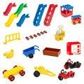 Grandes bloques de construcción de la diapositiva de accesorios escalera ventana entrenador carrito silla hoja hoja de moto compatible bebé diy juguetes