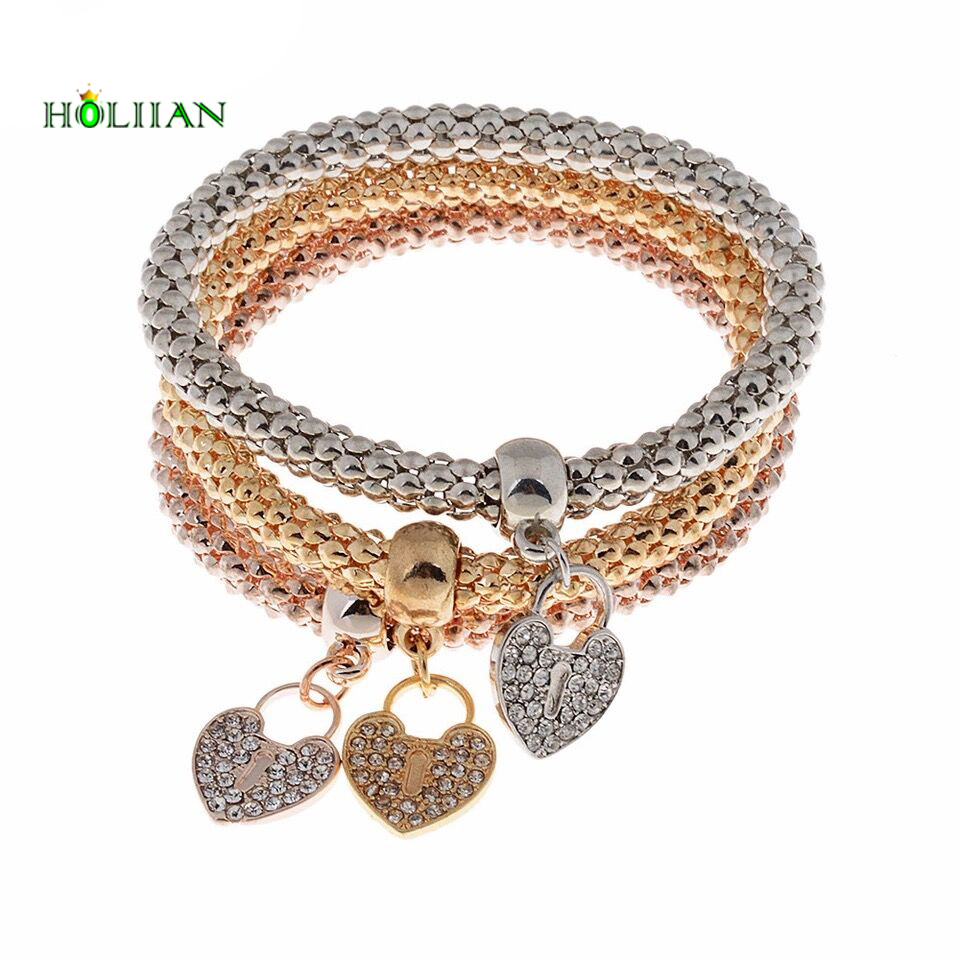 Female Gold-color crystal heart carter love bracelet&bangles rhinestone egyptian pandor beads silver chain set jewelry new