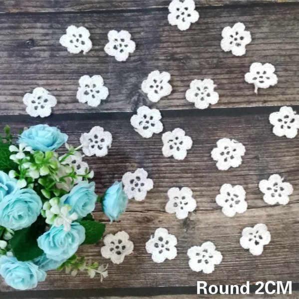 Lujo blanco hecho a mano Crochet flores encaje nupcial apliques cuello ajuste DIY artesanía vestido de boda accesorios de costura