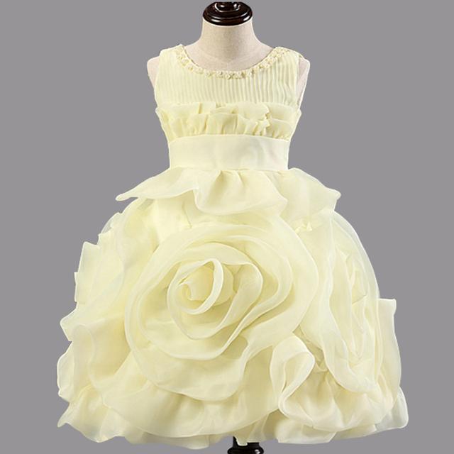 El nuevo vestido de la muchacha con 3D geométrico diseño novedoso arreglo de rosas, princesa de la moda elegante vestido