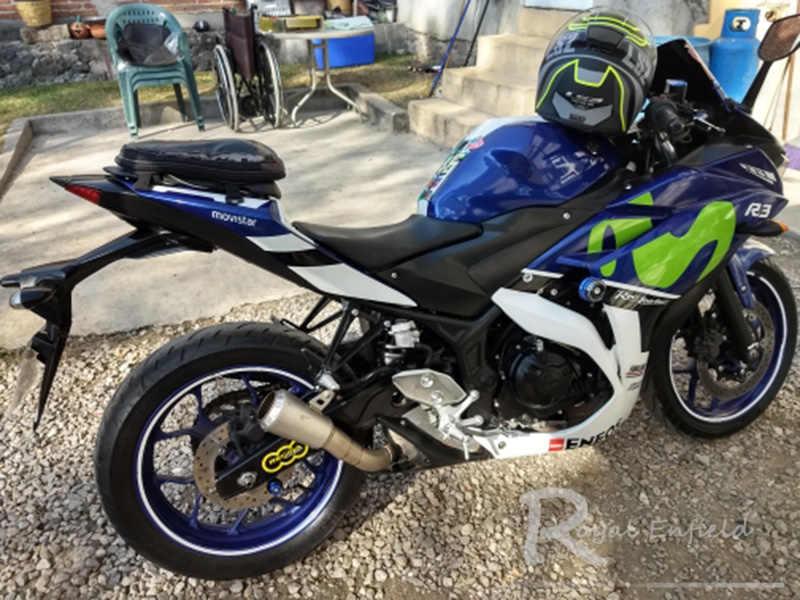 لياماها R3 R25 YZF-R3 دراجة نارية العادم الخمار الانزلاق على لياماها YZF R30 R25 YZF-R3 MT30 2015 2016 2017 مع الليزر وسم