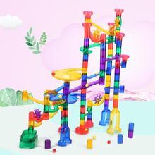 Дети 180 шт Пластиковые гонки лабиринт дорожная модель в сборе Набор Красочные Дети мрамор работает DIY строительные блоки забавные игрушки