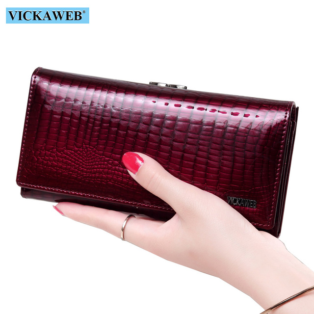 VICKAWEB Long Thick Wallet Female Fashion Alligator Purse Women Genuine Leather Standard Wallets Hasp womens wallets and purses