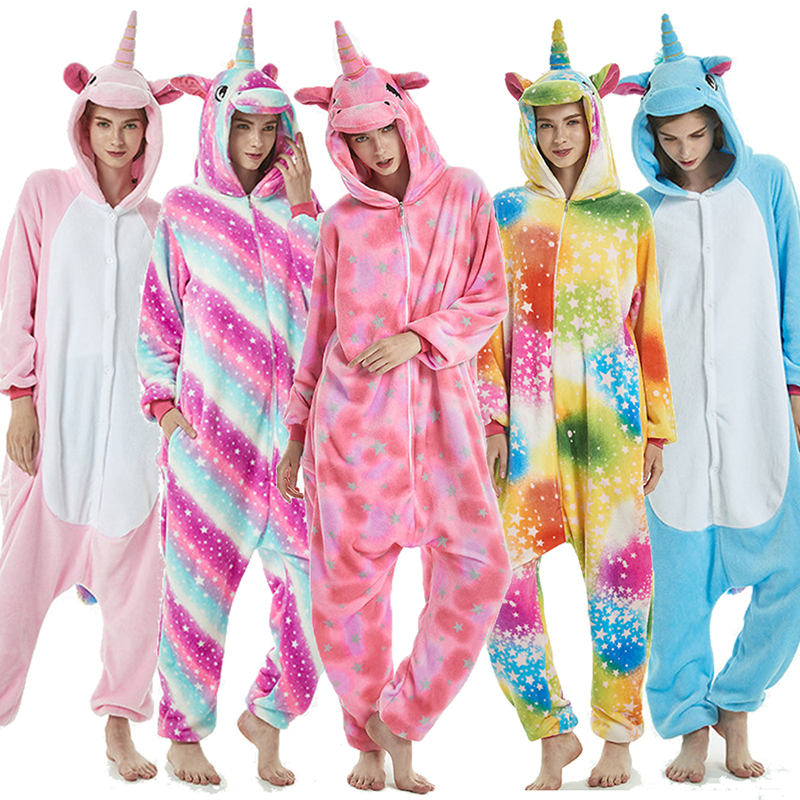 Kigurumi Women Pajamas Animal Cartoon panda Stitch unicornio Sleepwear Winter Flannel Nightie Men Unisex Onesies Overall Nightie