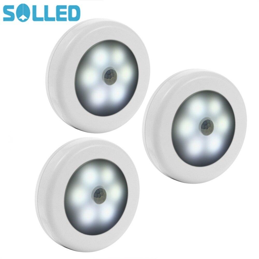 LumiParty 3Pcs Motion Sensor LED Night Light Battery Powered Stick-anywhere Wall Light for Hallway Closet Stairs Bedroom jk35 цена