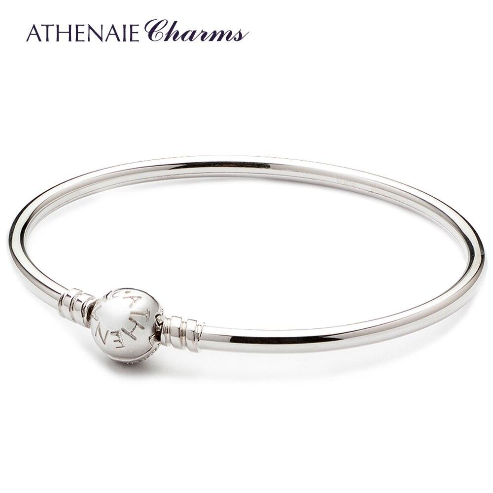 ATHENAIE 925 Sterling Silber Grundlegende Charme Armband & Armreif Pflastern Klar CZ Snap Verschluss Fit Alle Europäischen Perlen-in Armreifen aus Schmuck und Accessoires bei  Gruppe 2