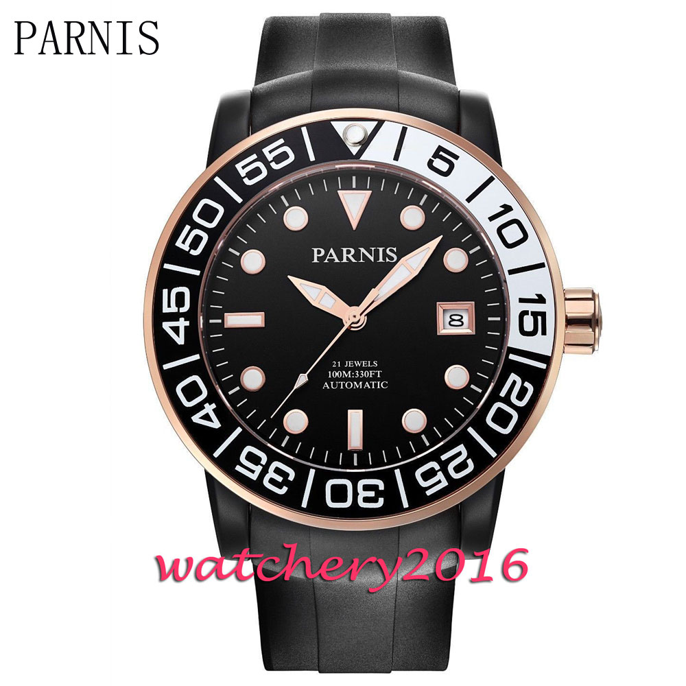 Luxury Parnis 42mm black dial luminous marks sapphire glass white date window automatic Men's Watch цена и фото