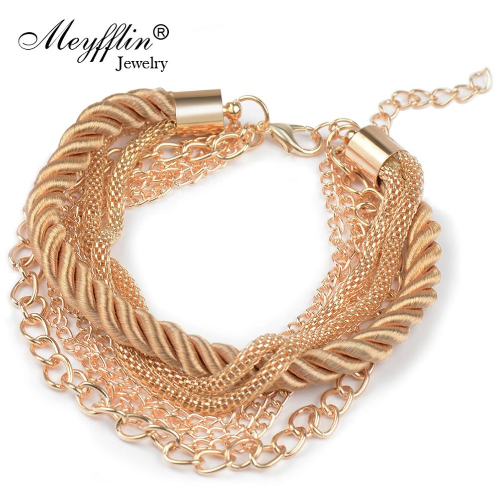 Charm náramek pro ženy Módní šperky Zlatý řetízek Pletené lano Vícevrstvé náramky a náramky pro ženy Pulseira New 2020