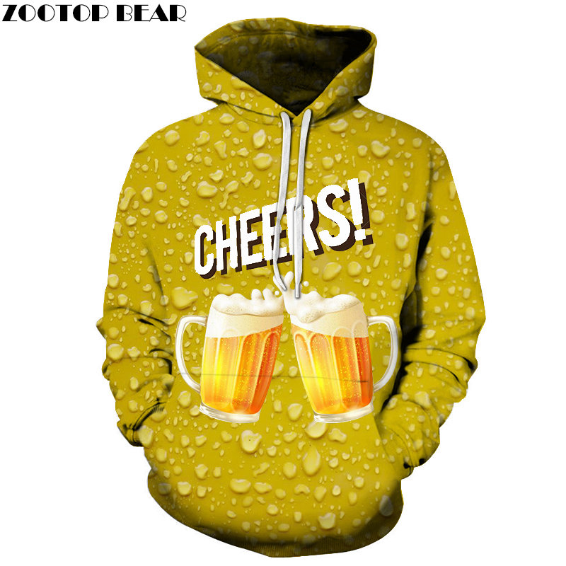Two Cups Beer 3D Printed Spring Casual Hoody Sweatshirt Men Tracksuit Hoodie Male Pullover Streetwear Cloth DropShip ZOOTOPBEAR