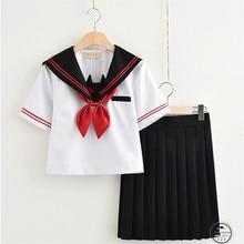 Fashion New Japanese School Student Uniform T-shirt + Skirts Navy Sailor Uniform School Girl OY-X704