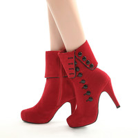 Women Autumn Winter Red Black Flock Warm Fur Plush Button Zipper Mid Calf 3 93 Inches