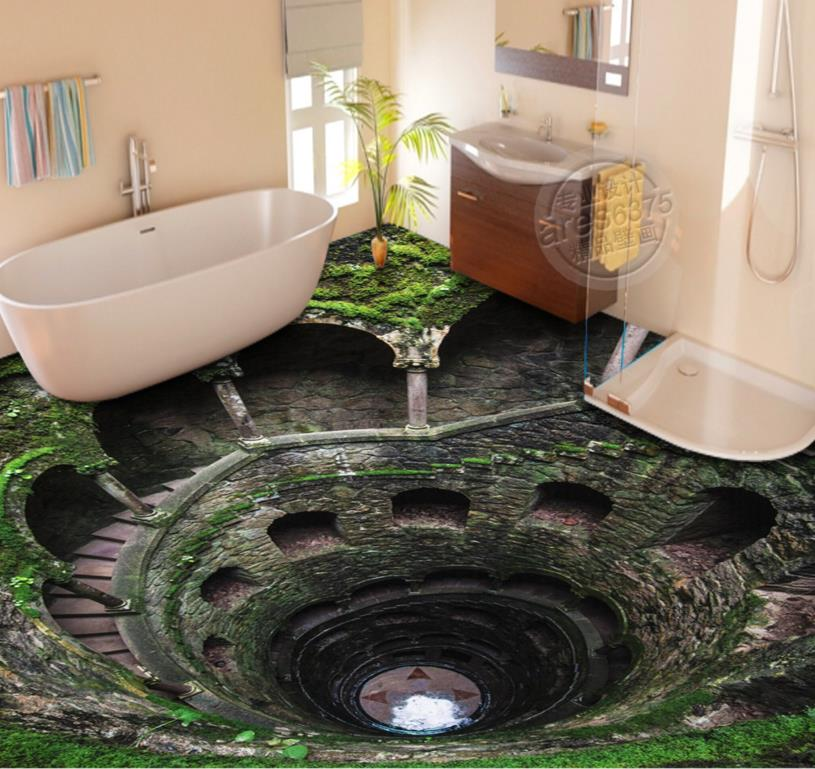 3D Flooring Bathroom Custom 3d Floor Stairs Waterproof Self-adhesive Murals Creative 3d Floor Print