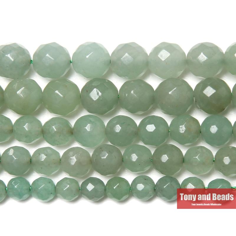 Perlen AnpassungsfäHig Freies Verschiffen Neue Ankunft Faceted Grüne Aventurin Perlen 15 strand 4 6 8 10 12mm Pick-größe Für Schmuck Machen