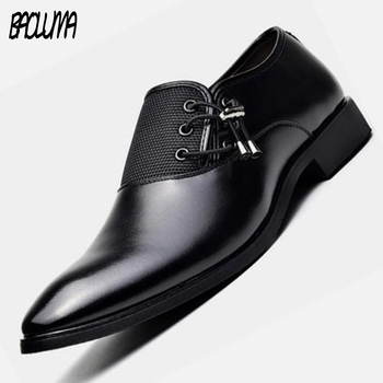 Classic Mens Leather Dress Shoes Fashion Luxury Designer Men Formal Shoes Spring Autumn Male Pointed Wedding Business Shoes