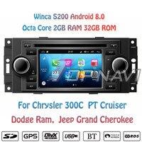 Topnavi 5 S200 Android 8.0 Car DVD Multimedia Auto Player for Chrysler 300C PT Cruiser Dodge Ram Jeep Grand Cherokee Stereo GPS