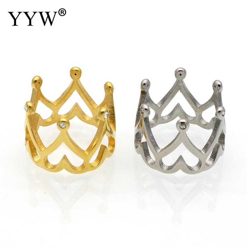 Unique Design Unisex Crown Finger Ring Stainless Steel Ring Plated With Rhinestone For Women