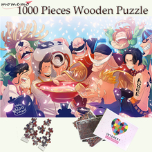 MOMEMO White Beard Pirater Party Wooden Puzzle 1000 Pieces Anime One Piece Jigsaw Puzzles Toys Adults Children Teenagers Gifts