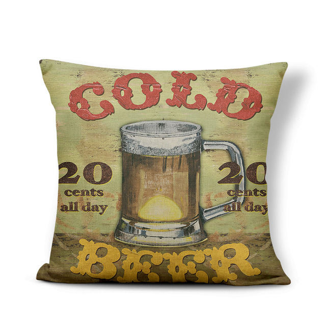 Retro Poster Cushion Cover Watercolor Bar Cold Beer Man Cave Pillow Case Cover Decor Home Throw Pillow Large Linen Blend Funny