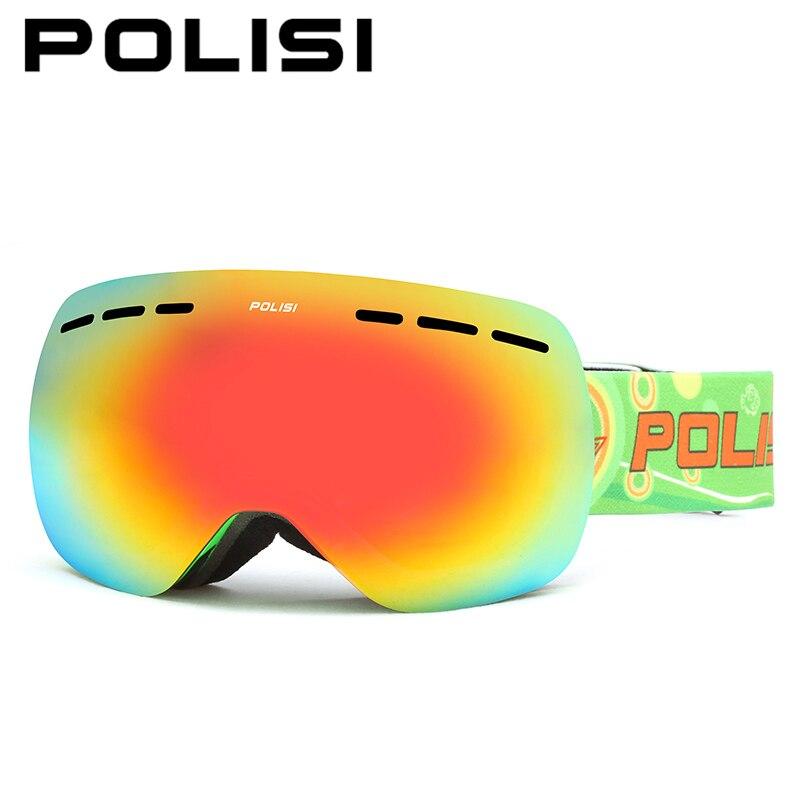 Polisi óculos de esqui no inverno de neve snowboard óculos de proteção uv400  desporto ao ar livre das crianças das crianças de dupla camada anti-nevoeiro  ... 77cab88226