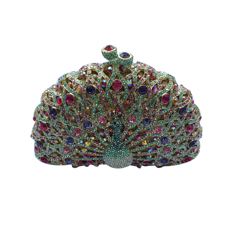 ФОТО Peacock Clutch and Evening Clutch Bags for Ladies Wedding Prom Dinner Party Crystal Evening Bags