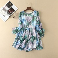 2017 Europe And United States Women S New Dress Green Leaves Applique Three Dimensional Flower Large