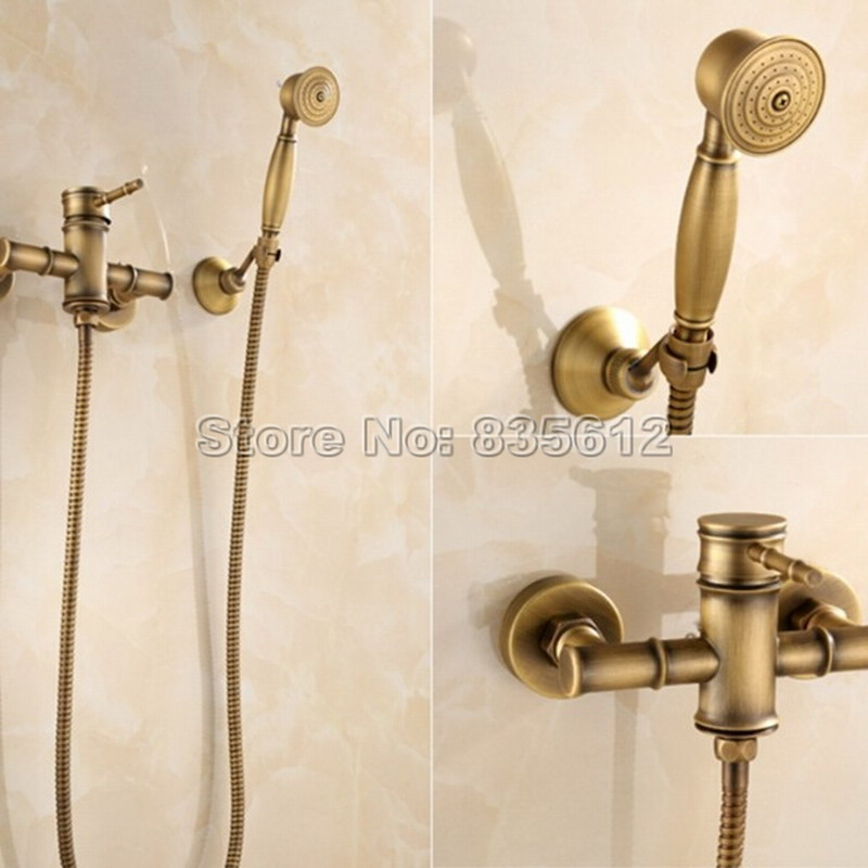 Wall Mounted Retro Bamboo Style Bathroom Single Handle Tub Shower Faucet Antique Brass Finish with Hand Held Shower Head Wtf400 aluminium alloy professional camera tripod flexible dslr video monopod for photography with head suitable for 65mm bowl size