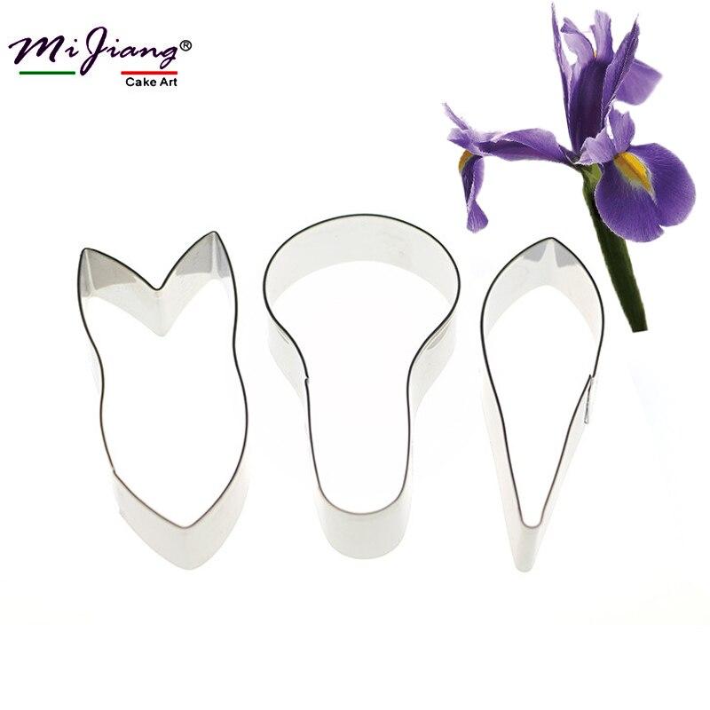 Mijiang 3 unids/set Iris Pétalo de la Flor Cookie Cutter Fondant Herramientas de