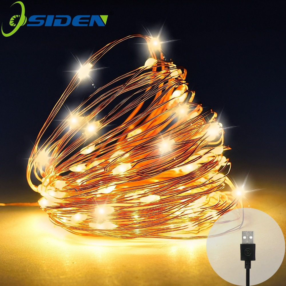 USB LED String Light 10M 5M Vanntett Kobber Wire Outdoor Lighting Strings Fairy Lights For Christmas Wedding Decoration