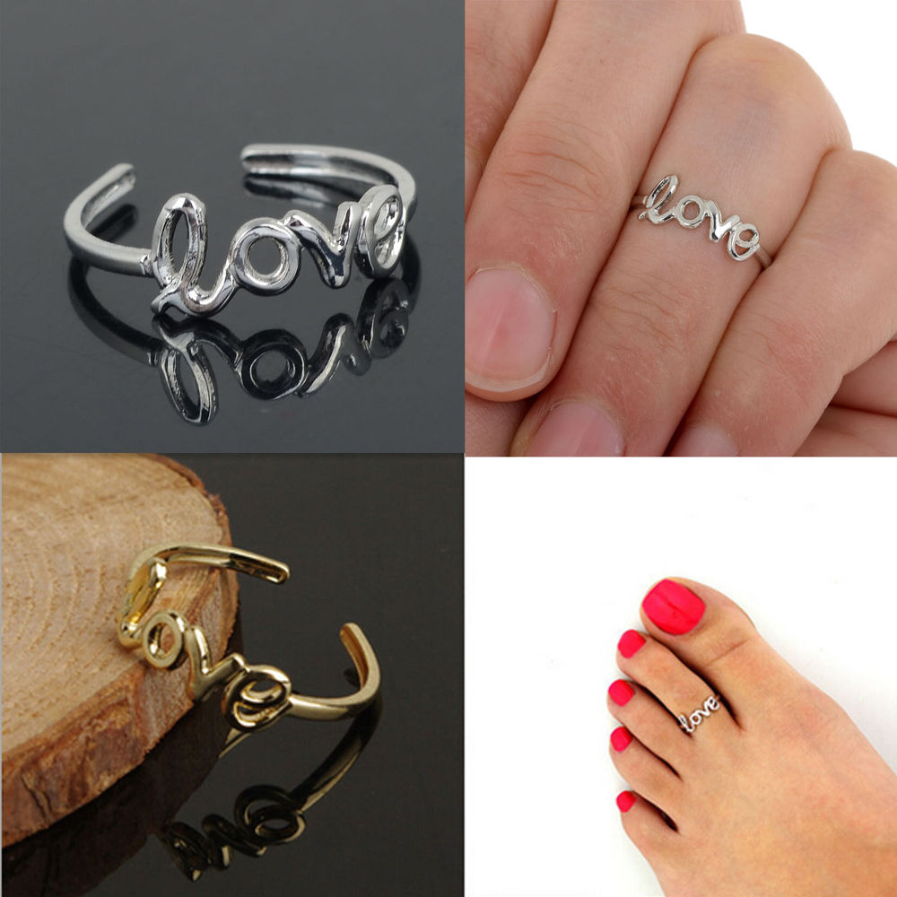 Gold toe rings for women - Free Shipping Women Lady Unique Simple Stylish Love Character Joints Toe Ring Foot Jewelry 1379
