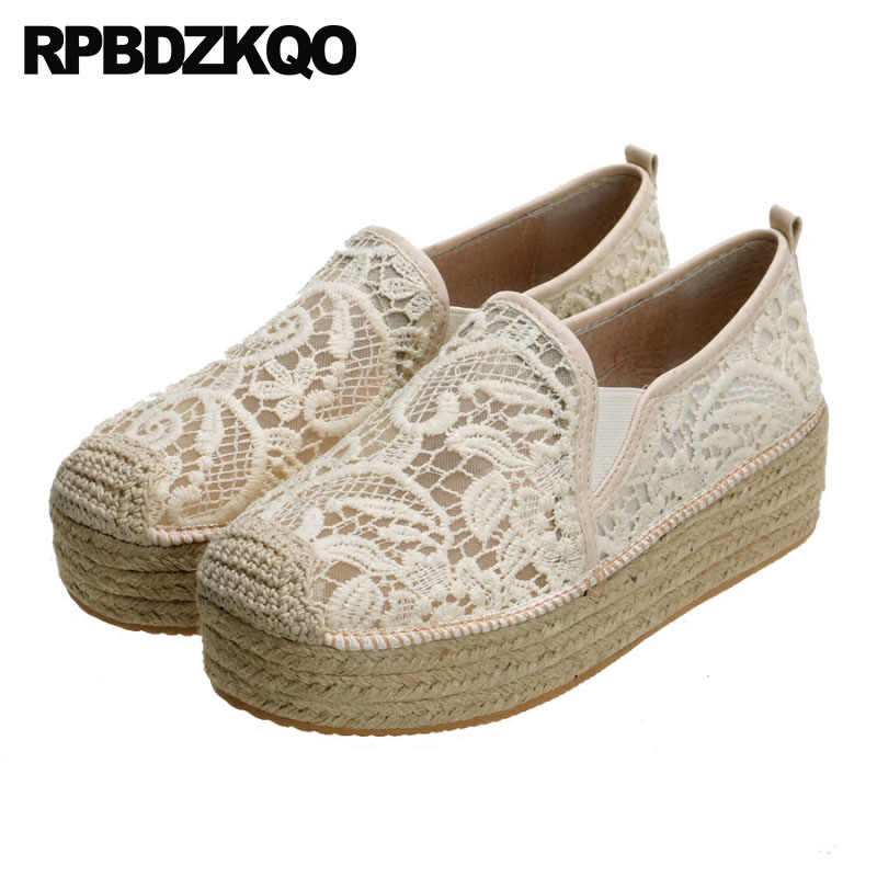 60b66f99a ... Large Size Creepers Platform Shoes Rope Mesh Women Casual White Lace  Elevator Navy Blue Espadrilles Muffin ...