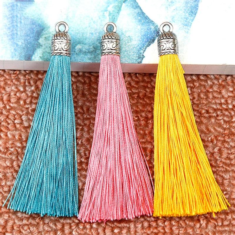 5pcs/lot 9cm Long Silk Tassel Brush Cords with Metal Caps for Earrings Charms Pendant Tassel Fit DIY Jewelry Making Material long tassel earrings
