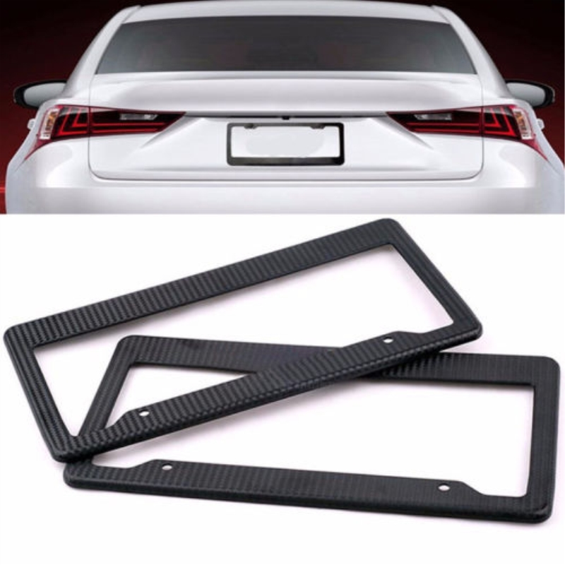 2pc Auto Black Us License Plate Frame Tag Cover Trim Abs