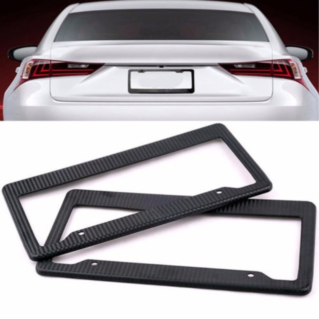 Pc Auto Black US License Plate Frame Tag Cover Trim ABS Carbon - Audi license plate frame