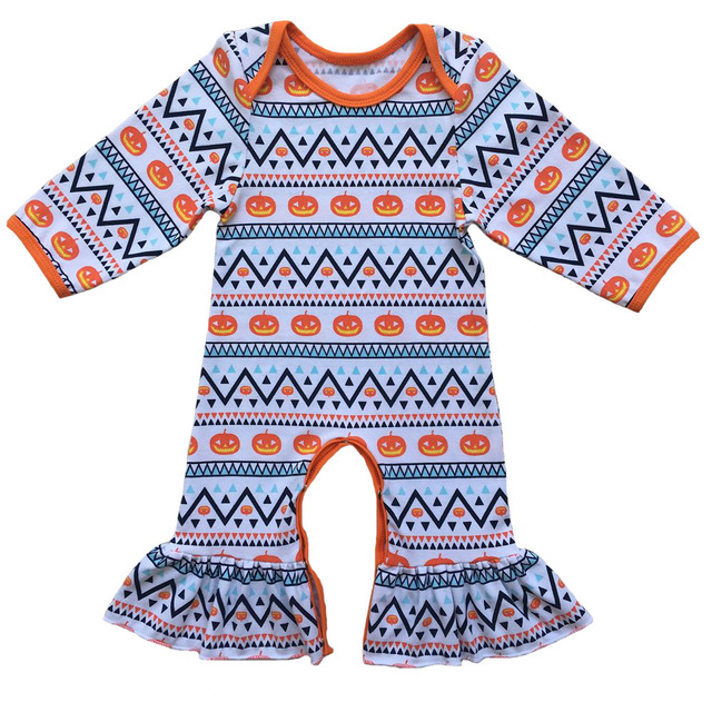 9d634aff2d72 Hot sale kids goblin jumpsuit baby Halloween Day pumpkin baby romper ruffle icing  romper baby candy clothing